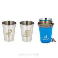 Lot 2 verres Joystick & Ordi et leur housse Azur- Ecococoon